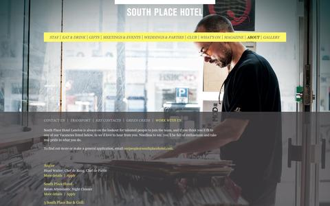 Screenshot of Jobs Page southplacehotel.com - Work With Us Hotel Careers - South Place Hotel, London - captured Sept. 22, 2014