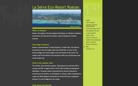 Screenshot of FAQ Page laselvaroatan.org - La Selva Roatan - FAQ - captured Oct. 1, 2014