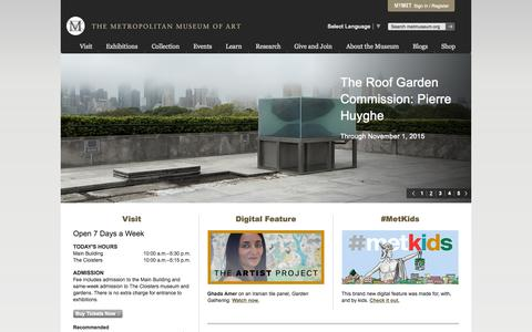 Screenshot of Home Page metmuseum.org - Home | The Metropolitan Museum of Art - captured Oct. 7, 2015