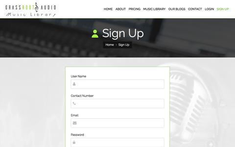 Screenshot of Signup Page grassrootsaudio.com - Sign Up - captured Sept. 25, 2018