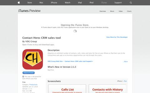 Screenshot of iOS App Page apple.com - Contact Hero: CRM sales tool on the App Store on iTunes - captured Oct. 25, 2014