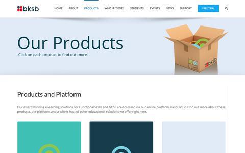 Screenshot of Products Page bksb.co.uk - Products Range   Functional Skills   GCSE   Additional Products   bksb - captured Sept. 25, 2018