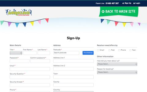 Screenshot of Signup Page barracudas.co.uk - Barracudas Bookings - Sign-Up - captured Nov. 1, 2019