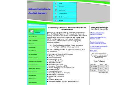 Screenshot of Home Page lansingappraisers.com - Real Estate Appraisal - home appraisal - appraiser - real estate appraiser - residential appraisals - East Lansing, MI - Molenaar & Associates - captured Oct. 7, 2014