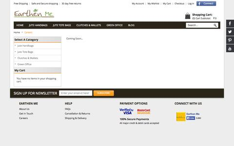 Screenshot of Jobs Page earthenme.com - Careers - captured Sept. 27, 2014