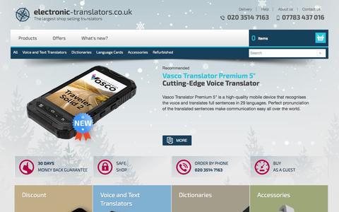 Screenshot of Home Page electronic-translators.co.uk - Electronic Translators | On-line Retailer of Translators - Electronic Translators | Electronic Dictionary | Voice Translator - captured Jan. 26, 2017