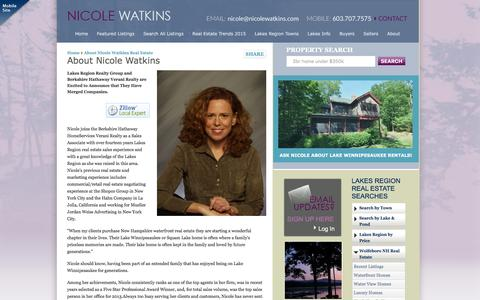 Screenshot of About Page nicolewatkins.com - Lake Winnipesaukee Real Estate Agent - Nicole Watkins - captured Jan. 24, 2016