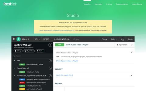 Screenshot of Developers Page restlet.com - Restlet Studio   Design & Document your REST APIs - captured Oct. 15, 2019