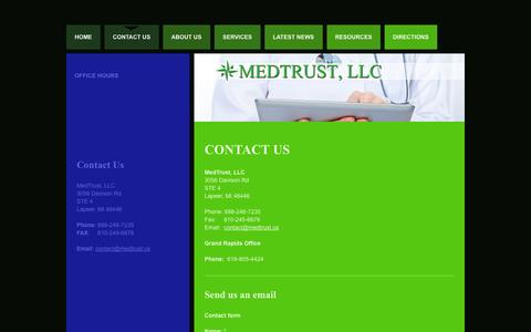 Screenshot of Contact Page medtrust.us - Contact Us | 3056 Davison Rd Ste 4 | Lapeer, MI 48446 - captured Oct. 27, 2014