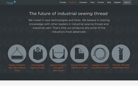 Screenshot of Products Page servicethread.com - Industrial Sewing Thread Products and End Use - captured Nov. 7, 2018