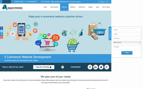 Screenshot of Services Page alivenetsolution.com - Commerce Web Development Services | eCommerce Web Development Services India - captured Dec. 29, 2016