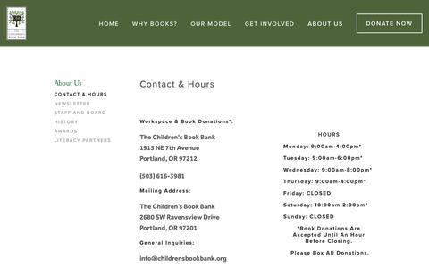Screenshot of Hours Page childrensbookbank.org - Contact & Hours — Children's Book Bank - captured Oct. 20, 2018