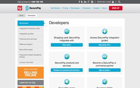 Screenshot of Developers Page securepay.com.au - Developers - SecurePay - captured May 17, 2017