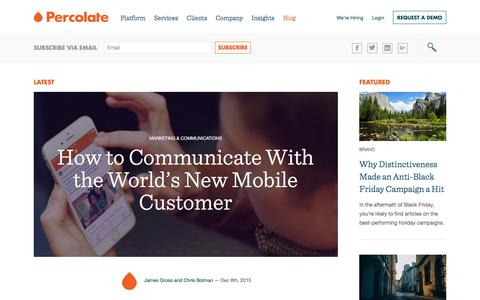 Screenshot of Blog percolate.com - The Percolate Blog | Smart thinking about content, audience, and tech - captured Dec. 9, 2015