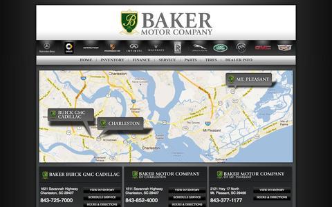 Screenshot of Locations Page bakermotorcompany.com - Baker Motor Company | Buick, GMC, Cadillac, Mercedes-Benz, Jaguar, Infiniti, Land Rover Dealer | Charleston, South Carolina - captured Sept. 30, 2014