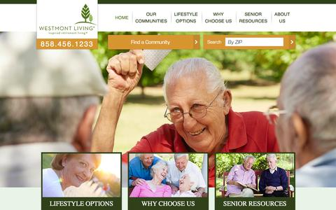 Screenshot of Home Page westmontliving.com - Westmont Living | Memory Care, Independent & Assisted Living Communities - captured Feb. 25, 2016