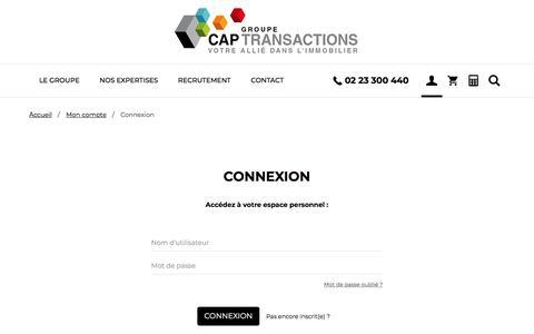 Screenshot of Login Page cap-transactions.com - Compte utilisateur | Cap Transactions - captured July 15, 2018
