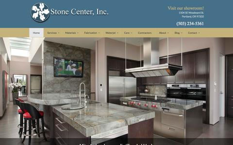 Screenshot of Home Page stonecenterinc.com - Marble and Granite Countertops | Fireplaces | Kitchens | Bathrooms - Stone Center Portland, OR - captured Oct. 7, 2014