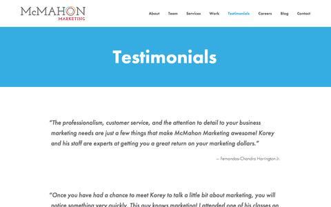 Screenshot of Testimonials Page mcmkt.com - McMahon Marketing | Testimonials - captured Nov. 28, 2016