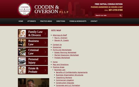 Screenshot of Site Map Page coodinoverson.com - Site Map | Coodin & Overson, PLLP | Woodbury Minnesota - captured Oct. 3, 2014