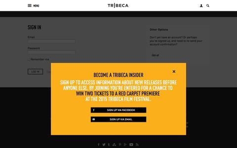 Screenshot of Login Page tribecafilmfestival.org - Tribeca - captured Nov. 5, 2014