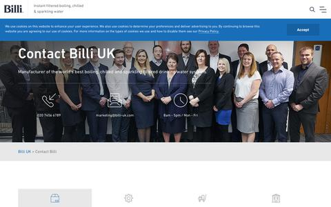 Screenshot of Contact Page billi-uk.com - Contact Billi. We are Here To Help! - captured Jan. 20, 2019