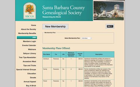 Screenshot of Signup Page sbgen.org - Santa Barbara County Genealogical Society - Join - captured Oct. 5, 2017