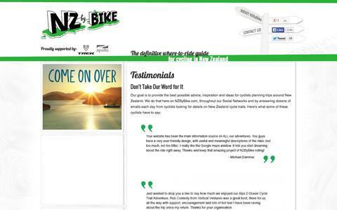 Screenshot of Testimonials Page nzbybike.com - Testimonials - captured Sept. 30, 2014