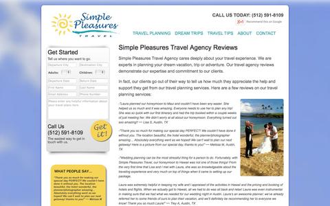 Screenshot of Support Page simplepleasurestravel.com - Read Austin travel agency reviews on Simple Pleasures Travel - captured Oct. 26, 2014