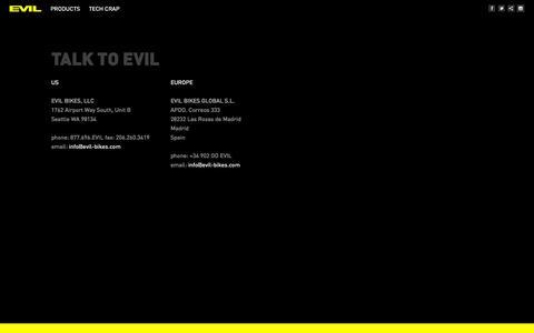 Screenshot of Contact Page evil-bikes.com - Contact | Evil  Bikes - captured Sept. 30, 2014