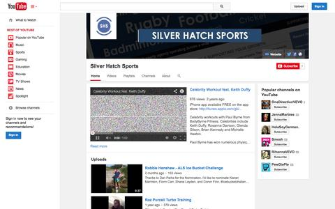 Screenshot of YouTube Page youtube.com - Silver Hatch Sports  - YouTube - captured Oct. 26, 2014