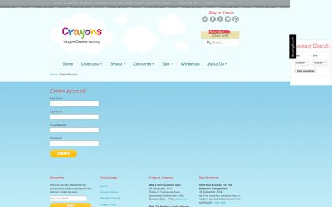 Screenshot of Signup Page crayons.com.au - Create Account | Crayons - captured Sept. 30, 2014