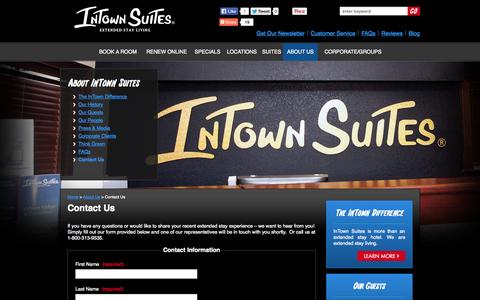 Screenshot of Contact Page intownsuites.com - Contact Us: InTown Suites Extended Stay Living - captured Oct. 10, 2014