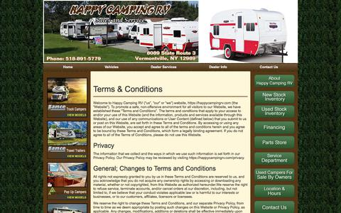 Screenshot of Terms Page happycampingrv.com - » Terms & Conditions - captured July 16, 2018