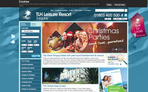Screenshot of Home Page tlh.co.uk - Torquay Hotel | Holidays & Hotels in Torquay | Self Catering Apartments & Holidays in Torquay, Devon - TLH Leisure Resort - captured Oct. 7, 2014