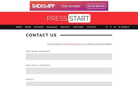 Screenshot of Contact Page press-start.com.au - Contact Us | Press Start Australia - captured Nov. 11, 2016