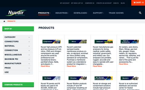Screenshot of Products Page nuvair.com - Products by Category | Nuvair - captured Nov. 4, 2018