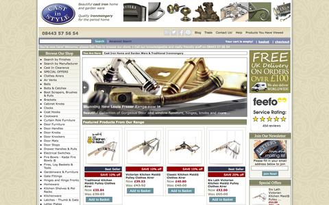 Screenshot of Site Map Page castinstyle.co.uk - Cast in Style Home of Cast Iron, Clothes Airers, Door Furniture, Ironmongery, Cookware, Brackets - captured Sept. 25, 2014