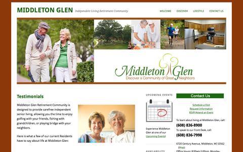 Screenshot of Testimonials Page middletonglen.com - Testimonials | - captured April 15, 2016