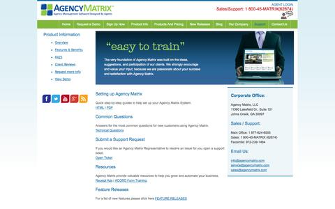 Screenshot of Support Page agencymatrix.com - Support | Agency Matrix Management System - captured Sept. 19, 2014