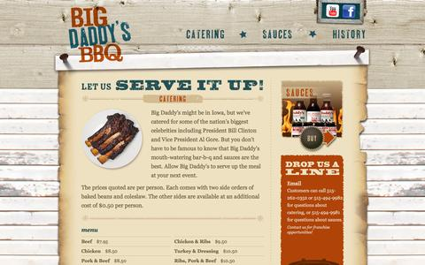 Screenshot of Menu Page bigdaddysbbq.net - Big Daddy's Bar-B-Q | Catering | World Famous Sauces | Des Moines, Iowa - captured April 10, 2017