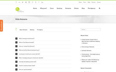 Screenshot of FAQ Page pure-romania.com - FAQs Romania - Pure Romania - captured Sept. 30, 2014