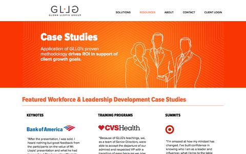 Screenshot of Case Studies Page glennllopis.com - Case Studies | Glenn Llopis Group - captured Feb. 20, 2018