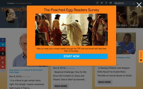 Screenshot of Blog thepoachedegg.net - Blog - The Poached Egg Christian Worldview and Apologetics Network - captured Nov. 8, 2018
