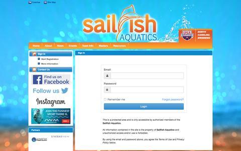 Screenshot of Login Page teamunify.com - Sailfish Aquatics : Sign In - captured Jan. 22, 2017