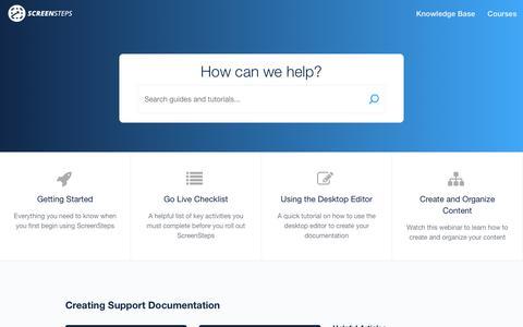 Screenshot of Support Page screensteps.com - ScreenSteps - captured July 19, 2019