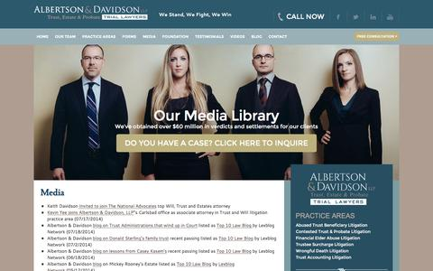 Screenshot of Press Page aldavlaw.com - Albertson & Davidson In The Local Los Angeles Legal Media - captured Feb. 5, 2016