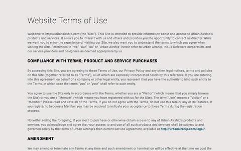 Screenshot of Support Page urbanairship.com - Terms Of Use | Legal | Urban Airship - captured Nov. 9, 2016