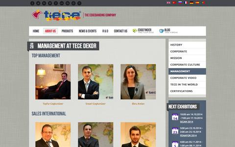 Screenshot of Team Page tece.com.tr - Management - Welcome to the World of Tece - captured Oct. 7, 2014