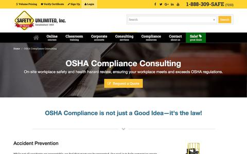 Screenshot of Services Page safetyunlimited.com - OSHA Compliance Consulting Services | Safety Unlimited - captured March 9, 2018